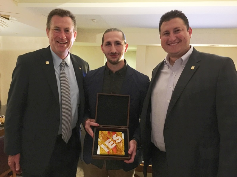 I am pleased to have gifted this piece to the Illuminating Engineering Society. I presented the gift to Lance Bennett (Left, President, 2018-2019) and Tim Licitra (Right, Executive Director).